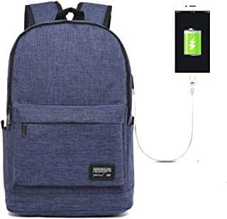 ZGQA Men's Business Charging Canvas Multi-Function Waterproof Computer Backpack (Color : Blue, Size : 45cm*32cm*18cm)