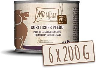 MjAMjAM - Pienso acuoso para Perros - Delicioso Caballo Puro - Sin Cereales - 6 x 200 g