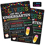 First and Last Day of School Chalkboard,10''x12''Reusable Wooden Chalkboard for Kids, Girls & Boys Back to School Photo Prop Sign to Commemorate The 1st Day of Preschool/ Kindergarten Multiple Colors