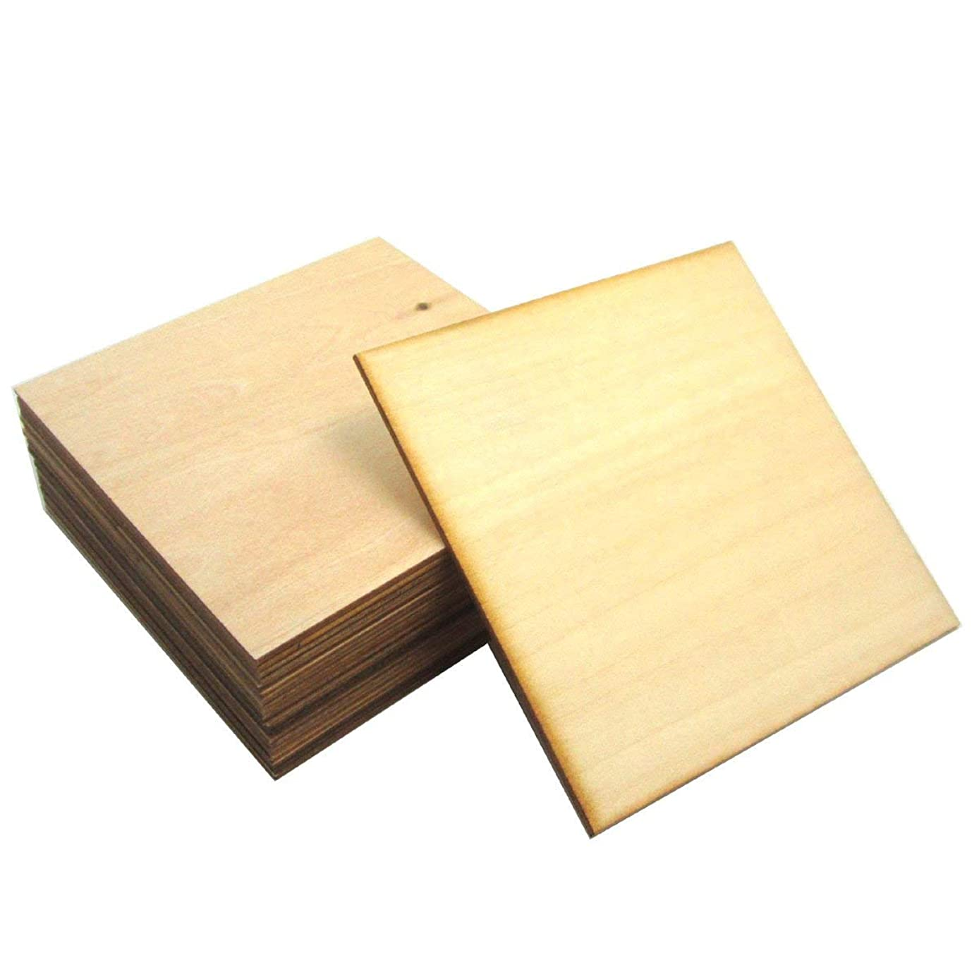 WINGONEER 20pcs 10x10cm Square plywood Wooden Blank Wood Slices DIY Crafts Common wood for Creating Jewelry Painted Christmas Tree Decorated craft Projects - Thickness: 1.5mm