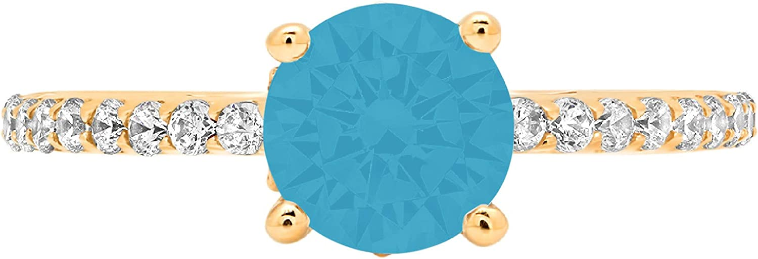 1.48ct Round Cut cathedral Solitaire Flawless Ideal VVS1 Simulated Blue Turquoise CZ Engagement Promise Statement Anniversary Bridal Wedding with accent Designer Ring 14k Yellow Gold