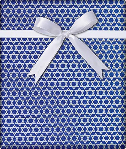 Star of David Holographic Hanukkah Gift Wrapping Paper Flat Sheet - 24' x 6'