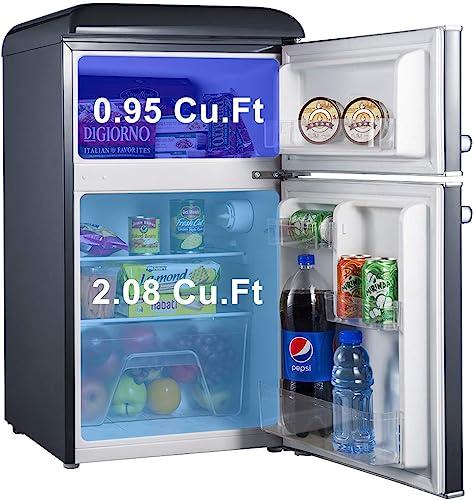 Galanz GLR31TBKER Retro Compact Refrigerator, 3.1 Cu.Ft Mini Fridge With Dual Doors, Adjustable Mech…