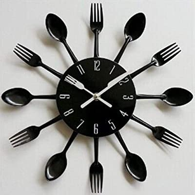 FidgetFidget 12 Kitchen Cutlery Wall Clock w/Forks Spoons for Home Decor Wall