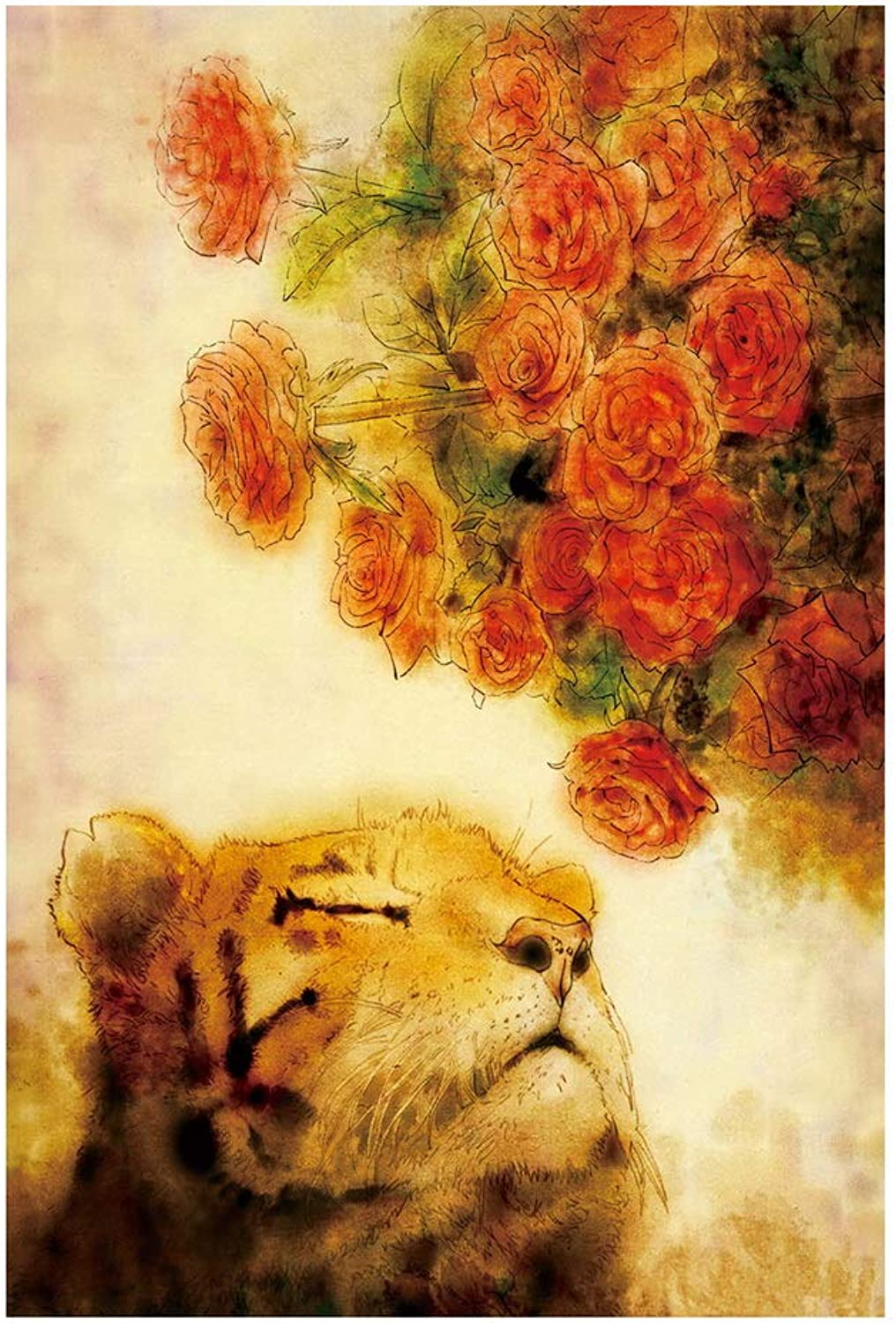 1000 Pieces of Linden Wood Cartoon Puzzle Toys, Tiger and Flowers