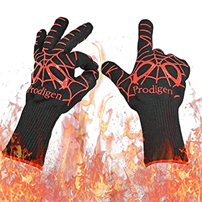 Prodigen BBQ Grilling Gloves - Oven Gloves Heat Resistant Cooking Mitts - Fireplace Tool Accessories Gloves- Insulated Silicone Oven Mitts For Grilling,Smoking,Baking