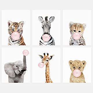 Amy Peterson Baby Safari Animals Blowing Bubble Gum - Set of 6 Unframed Prints (8x10 Inch)