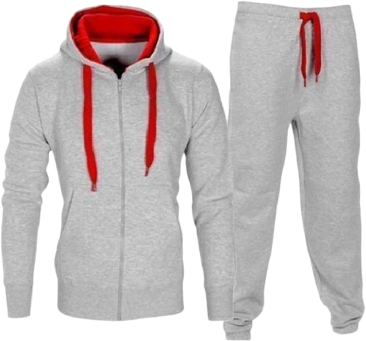 RkBaoye Mens Zips Hooded Hit color Tapered Relaxed-Fit Drawstring Sweatsuit