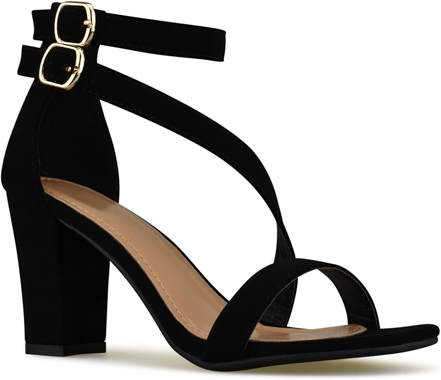 Premier Standard Classified Handle Womens Strappy Open Toe High Chunky Heel - Sexy Stacked Heel Sandal - Cute Strappy shoes