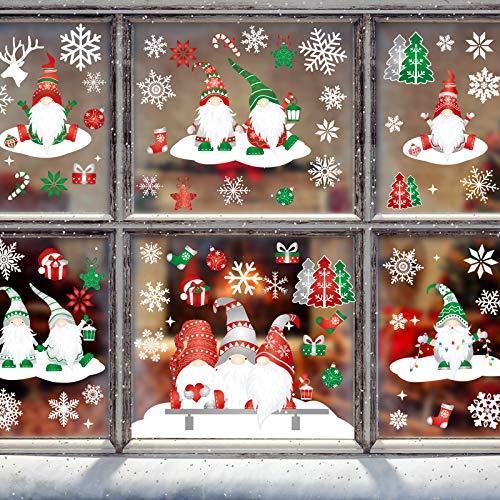234 Stücke Weihnachten Weiße Schneeflocke Fenster Klammert Gnom Elf Skandinavisch Abziehbild Aufkleber Winter Fenster Dekorationen für Party Urlaub Dekoration, 12 Blätter, 4 Stile
