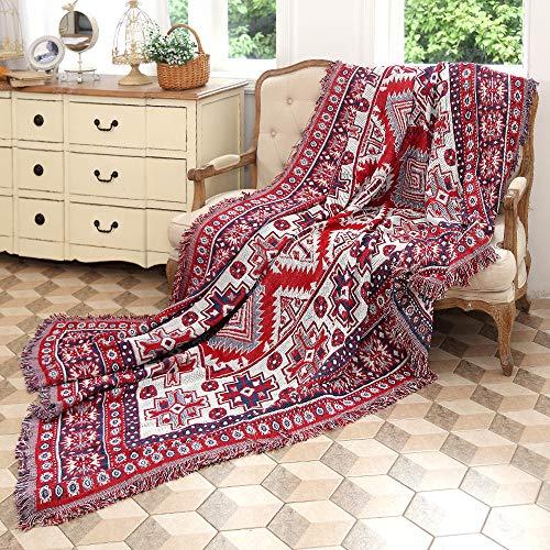 amorus - Manta bohemia de 228 x 259 cm, doble cara para sofá cama, funda protectora con borlas decorativas