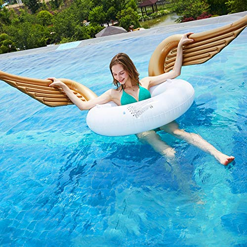 MGWA inflatable pool toys Angel Wings Swimming Ring Golden Angel Inflatable Adult Floating Row Swimming Pool Recliner Lifebuoy