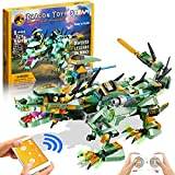 RCSPACEX Remote & APP Control Dragon Toys, STEM Projects for Kids Ages 8-12, Green Mech Dinosaur Building Sets Toy Gifts for Boys and Girls Age 8 9 10 11 12 Year Old (515 Pieces)