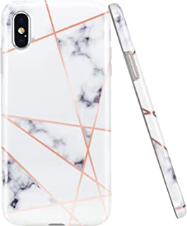 JAHOLAN Compatible iPhone X Case iPhone Xs Shiny Rose Gold Geometric Marble Design Clear Bumper Glossy TPU Soft Rubber Silicone Cover Phone Case - White