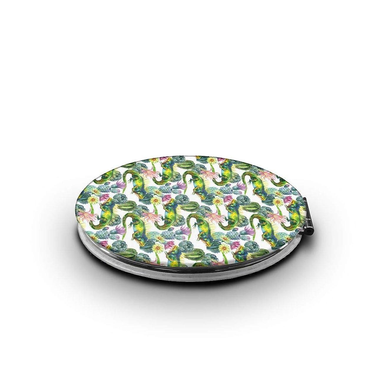 浴室活性化する振幅ミラー 化粧鏡 サボテントカゲパターン コンパクトミラー 軽量 丸型 折りたたみ鏡