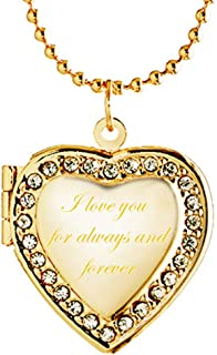 Retro Engraved I Love You Lockets Necklace Heart Shape Pendant with March Birthstone Crystal