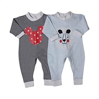 Papillon Long Sleeves Mickey Mouse and Lion Print Striped Bodysuit Set for Girls - 2 Pieces