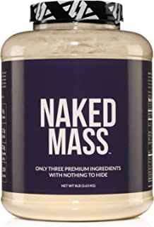 NAKED MASS - Natural Weight Gainer Protein Powder - 8lb Bulk, GMO Free, Gluten Free & Soy Free. No Artificial Ingredients - 1,250 Calories - 11 Servings