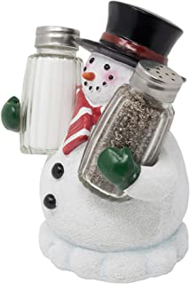 Decorative Snowman Salt and Pepper Shaker Set Figurine Display Stand Holder for Kitchen Table Christmas Decorations and Tabletop Xmas Holiday Decor Or Christmas Gifts for Mom