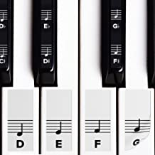 Piano Stickers for White & Black Keys w/Complete Notes on Grand Staff for 49/61 / 76/88 Keyboards