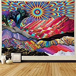 commercial Psychedelic Tapestry Street Lippius Mountain Santa Pastry Abstract Tree Tapestry Colorful Nature … trippy hippie tapestries