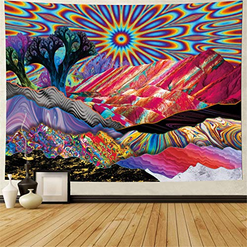 Psychedelic Tapestry Trippy Mountain Sun Tapestry Abstract Trees Tapestry Colorful Nature Landscape Tapestries Bohemian Hippie Tapestry Wall Hanging for Room