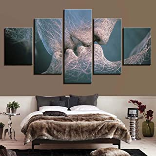 KINYNE El Beso Decoración de Pared Amor Beso Impresiones abstractas sobre Lienzo Cuadro Arte de la Pared Imagen Giclee Moderno para Dormitorio Sala de Estar 5 Piezas,A,30x40x2+30x60x2+30x80x1