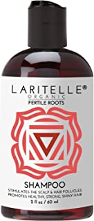 Laritelle Organic Travel Size Shampoo 2 oz | Fortifying, Strengthening & Rejuvenating | Stops Hair Shedding, Promotes New Hair Growth | Ayurvedic Herbs, Lavender, Ginger, Rosemary, Patchouli & Cloves