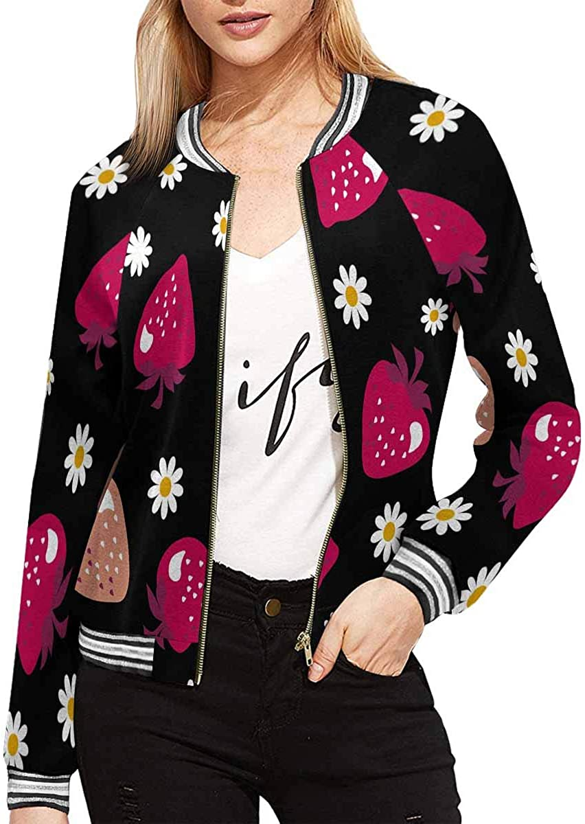 INTERESTPRINT Women's Strawberry Long Zippered Pockets Sale special Max 85% OFF price J Sleeves
