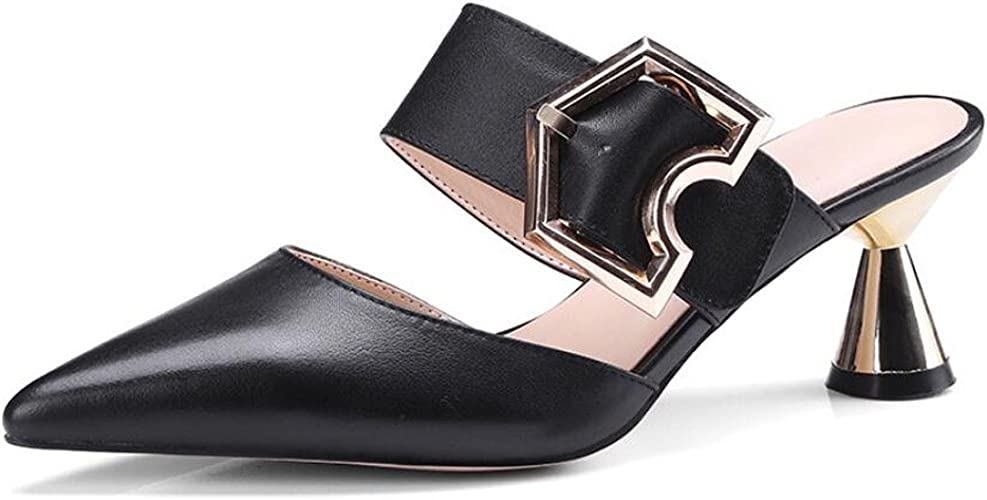 DANDANJIE Femmes Talons Hauts Chaussures Boucle en métal Boucle Sandales Bout Pointu Tongs Strass Pantoufles en Plein air d'été