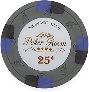 Claysmith Gaming Pack of 50 Monaco Club Poker Chips, Heavyweight 13.5-Gram Clay Composite