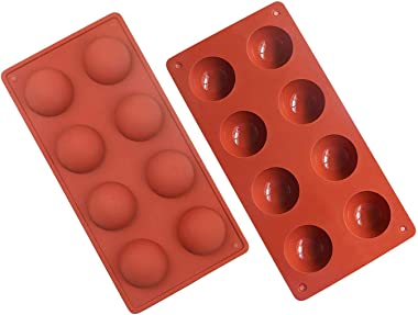 Jqieown 8 Holes Silicone Mold for Chocolate, Cake, Jelly, Pudding, Handmade Soap, Round Shape,Set of 2