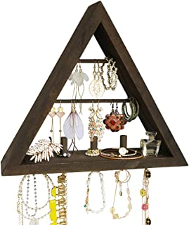Beautifulhome Wall Mounted Wooden Jewelry Organizer Rustic Brown, Stylish Triangle Jewelry Holder with Hooks for Rings, Earrings, Necklace and Accessories