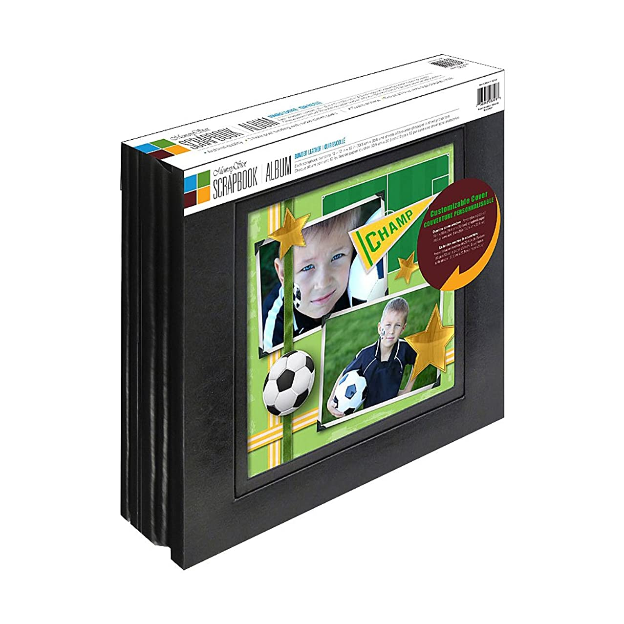 Old Town Memory Stor 2 Pack Bonded Leather Scrapbook Album with Large Display Window, 20 Pages, Black