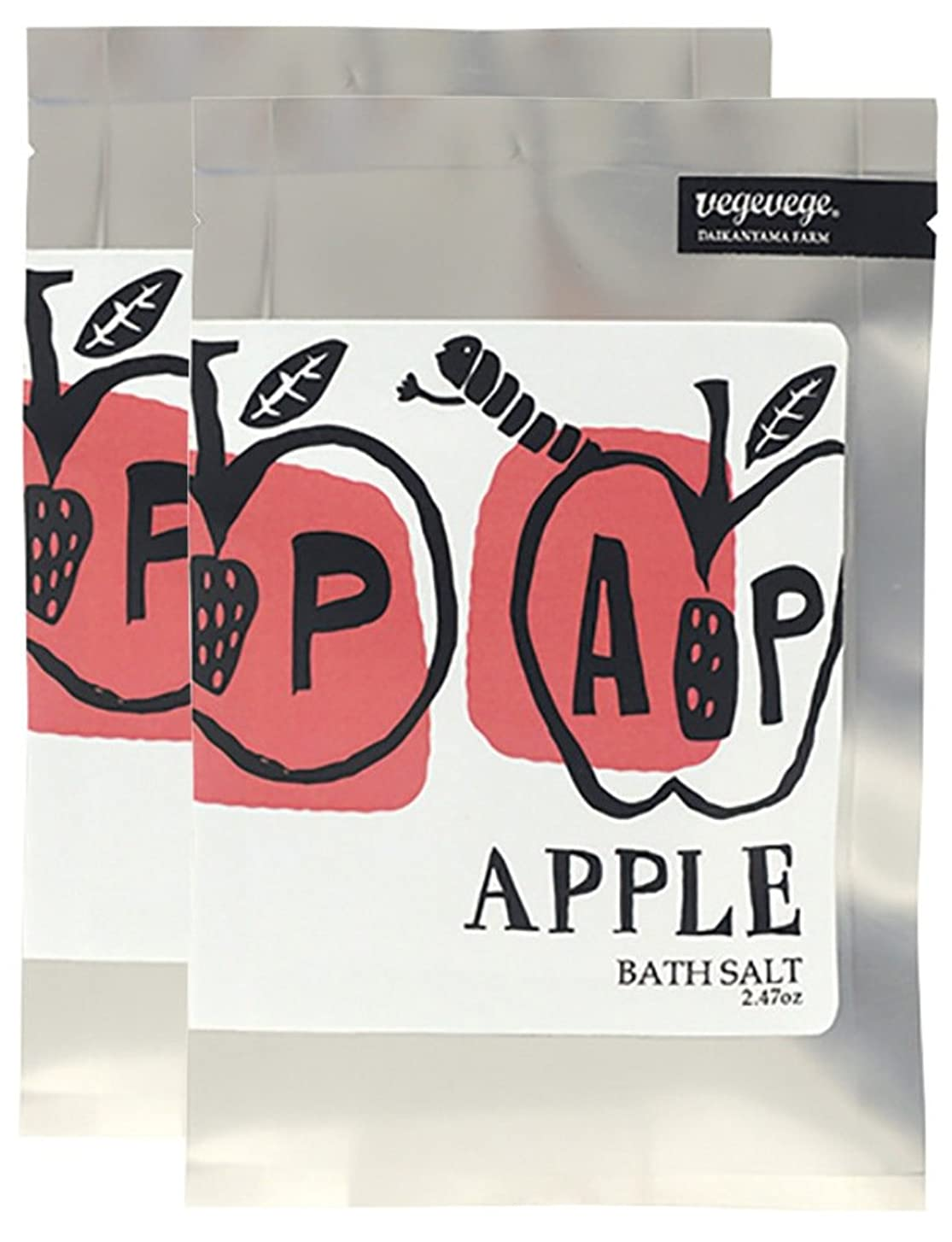 文房具収まるクアッガノルコーポレーション 入浴剤 バスソルト VEGEVEGE アップルの香り 2包入り OB-VGE-2-4