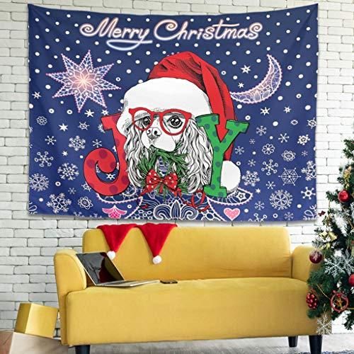 Hippie Frohe Natale cane Joy fiore luna fiocchi di neve felice animale da parete tappezzeria magica Gobelin tappetino da parete yoga poggiatesta panno di sfondo 200x150cm bianco