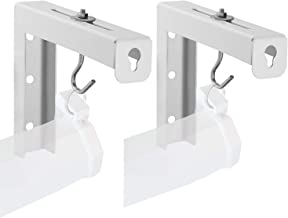 Universal Projector Screen L-Bracket Wall Hanging Mount 6 inch Adjustable Extension with Hook for All Sizes Manual, Spectrum and Perfect Screen Placement up to 66 lbs, 30 kg (PSM001), White