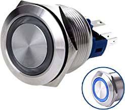 WerFamily Angel Eye Blue LED 22mm Stainless Steel Round Metal Momentary Type Push Button Switch 1NO 1NC
