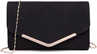 Miss Lulu Elegante Kettentasche Damen Tasche Clutch Bag Handtasche Hochzeit Abendtasche Umhängetasche Mädchen (LH1756 Schwarz)