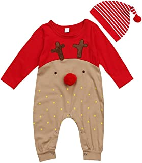 GRNSHTS Baby Girls Boys Christmas Bodysuit Red Nose Reindeer Pajama with Hat