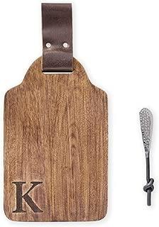 Mud Pie K Initial Wood & Leather Bar Board Set