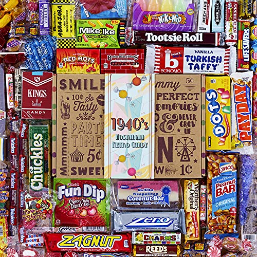 VINTAGE CANDY CO. 1940's RETRO CANDY GIFT BOX - 40s Nostalgia Candies - Throwback FORTIES Fun Gag...