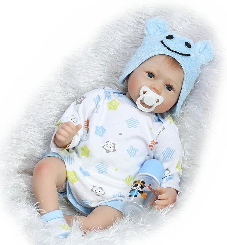 SYP 22 inch 55 cm Real Touch Soft Silicone Lifelike Handmade Reborn Baby Dolls Vinyl Newborn babies Boy eyes open and Sleeping Girl Twins Xmas Gift (Boy)