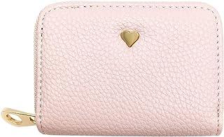 RFID Blocking Card Holder Wallet for Women, Leather Credit Card Holder Zipper Wallet (04 Pink)