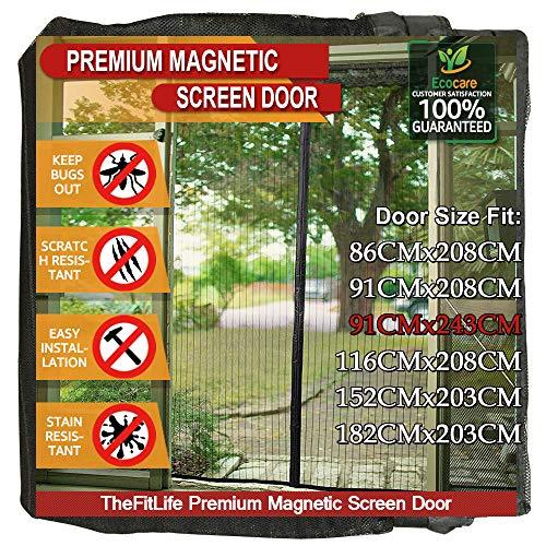 TheFitLife Magnetisch Vliegenscherm voor Deur - Heavy Duty Mesh Gordijn met Volledige Frame Haak en Lus en Krachtige Magneten die Automatisch Sluiten Black 100x248cm - Fits doors up to 91x243cm Max