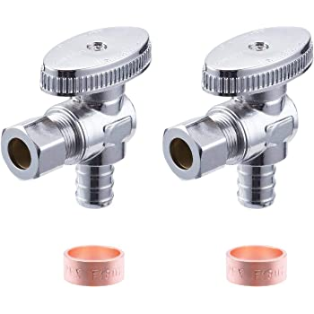 "1//2/"" PEX Crimp x 3//8/"" OD Compr Straight Stop Valves 1//4-Turn LEAD-FREE NSF 100"