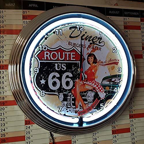 Neon reloj Neon Clock Pinup Ruta 66Diner–Reloj pared iluminado Neon Blanco.