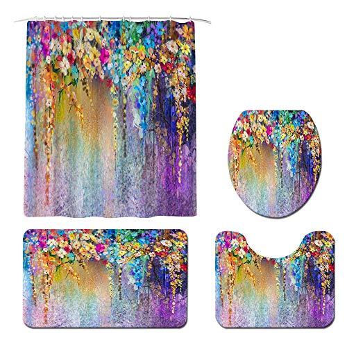 Juego de cortinas de ducha coloridas con alfombras antideslizantes, cubierta de la tapa del inodoro y alfombra de baño floral cortinas de ducha con 12 ganchos duradero impermeable cortina de baño