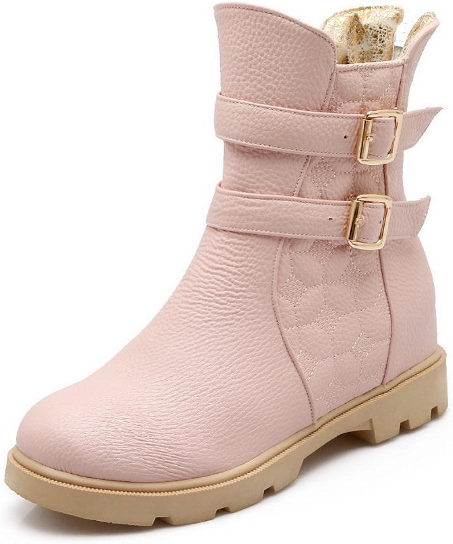 AdeeSu Ladies Back Zipper Preppy Style Kitten-Heels Imitated Leather Boots