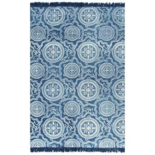 Alfombra de área, Alfombra de Piso Suave Alfombra de Piso Alfombra de salón Alfombra Kilim Algodón 160x230 cm con patrón Azul